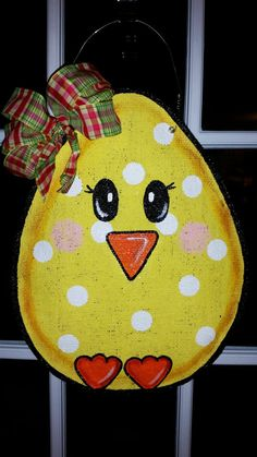 Check out this item in my Etsy shop https://www.etsy.com/listing/221807789/easter-egg-chick-burlap-door-hanger