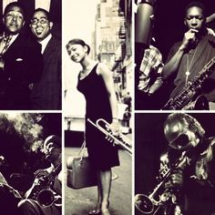 Good collage of Bird/Diz, John Coltrane, Dexter Gordon, etc.
