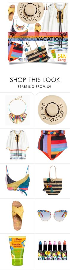 """""""On Vacation"""" by mmk2k ❤ liked on Polyvore featuring August Hat, Sonia Rykiel, Mara Hoffman, Mar y Sol, Kork-Ease, Dolce&Gabbana, ALBA and Rosantica"""