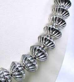Fluted Sterling Silver Beads by Calvin Largo, Navajo Navajo Jewelry, Metal Jewelry, Gold Jewelry, Silver Bead Necklace, Native American Beading, Silver Pearls, Earring Set, Bling, Beads