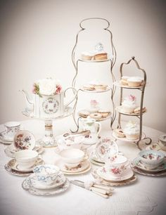 Vintage afternoon tea with cake stand, tea cups and saucer, cutlery, teapots, plates and milk jugs. Vintage crockery hire, vintage china hire throughout Berkshire, Wiltshire, Oxfordshire and Hampshire for weddings, afternoon tea parties, birthdays and celebrations, hen dos, baby showers and photoshoots.