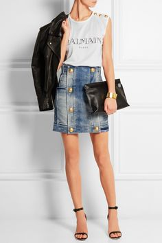 Balmain|Distressed stretch-denim mini skirt|NET-A-PORTER.COM
