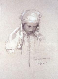 Alphonse Mucha - Portrait of a Girl, 1913