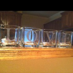 glass etched tea light holders