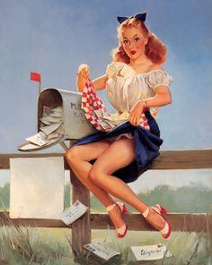 You've got mail! :) #1940s #forties #pinup #vintage #Gil_Elvgren #art #mail #mailbox #woman #summer