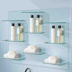 glass bathroom shelving - Glass Bathroom Shelves