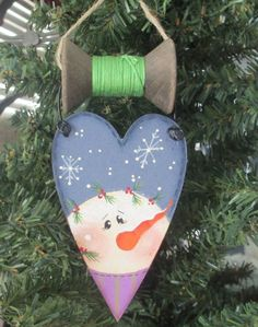 Snowman Heart Ornament with Wooden Spool  by WyliesWhimsicals, $7.00