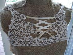 Vintage pre 1920's Lace up Tatted Bodice