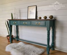 Coastal Style Duck Egg Blue Hall Table With Light Timber Top. Painted In  Miss Mustard Seed Milk Paint, And Lightly Distressed. Www.rawrevivals.com.