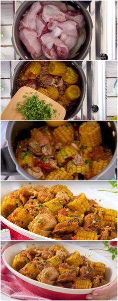 Frango de Panela de Pressão com Milho-verde, meu prato favorito de frango!!! (veja a receita passo a passo) #frango #frangonapaneladepressão #frangocommilho