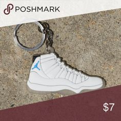 77ae21a3 Nike Jordan Retro 11 Columbia White Shoe Keychain •Item is 2D and one sided,