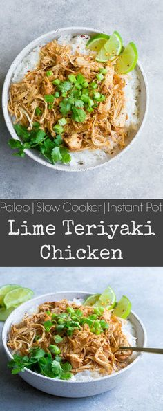 Slow Cooker or Instant Pot Lime Teriyaki Chicken – Wholesomelicious Set it and forget it with this super easy lime infused slow cooker teriyaki chicken! This Paleo and Gluten Free dinner will become a new favorite easy weeknight meal. Paleo Crockpot Recipes, Real Food Recipes, Healthy Recipes, Crockpot Meals, Cookbook Recipes, Clean Recipes, Free Recipes, Healthy Food, Yummy Food