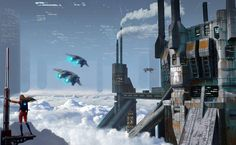 """""""Above the Clouds"""" by #AlexPeryan.  #sciencefiction #scifi #cityscape"""