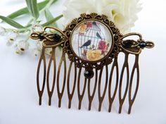 Romantischer Haarkamm mit Vogelkäfig und Rosen von Schmucktruhe, €16.50