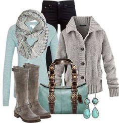 Grey and pastel blue is a good and soft combination for an outfit