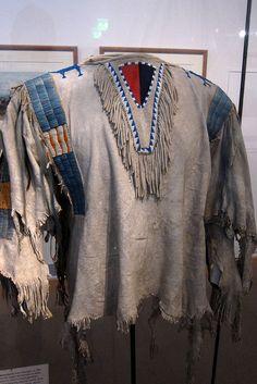 Men's Shirt, Upper Missouri 1850 - 'The Blue-Green decorative Stripes are made of bird quills, a technique used by Mandan, Hidatsa and Arikara.'   Flickr - Photo Sharing!