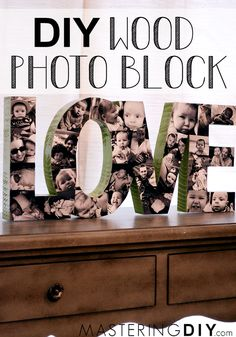 Create a beautiful custom photo wood block for your home, this is a perfect way to display family photos!