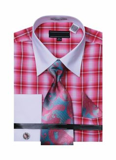 Checked Dress Shirts w/ Matching Tie & Hanky Set - Fuchsia - 15.5 33-34 Sunrise Outlet,http://www.amazon.com/dp/B00DTTJRAS/ref=cm_sw_r_pi_dp_wQbhtb1EQYF3G4W5