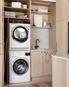 Modern Laundry Rooms, Laundry Room Layouts, Laundry In Bathroom, Laundry In Kitchen, Laundry Cupboard, Laundry Room Storage, European Laundry, Three Birds Renovations, Laundry Room Inspiration