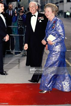 Margaret Thatcher and her husband Denis Thatcher attend the State Banquet given by Former Polish President Lech Walesa in honor of the Queen on April 1991 in London, England. The Iron Lady, Catherine Walker, Margaret Thatcher, British Prime Ministers, People Of Interest, Faith In Love, Prince Charles, British History, Powerful Women