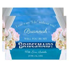 #Elegant Floral Ocean Beach Bridesmaid Invitation - #weddinginvitations #wedding #invitations #party #card #cards #invitation #beach