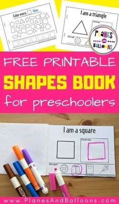 Free printable my shape book for preschool - basic 2d shapes activity book to print at home. #prek #kindergarten #planesandballoons Shape Worksheets For Preschool, 2d Shapes Activities, Alphabet Tracing Worksheets, Teaching Shapes, Early Learning Activities, Shapes Worksheets, Numbers Preschool, Preschool Books, Alphabet Activities
