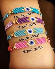 Miyuki bileklik - It Tutorial and Ideas Bead Loom Bracelets, Beaded Bracelet Patterns, Bead Loom Patterns, Beading Patterns, Beading Ideas, Beading Supplies, Seed Bead Jewelry, Bead Jewellery, Beaded Jewelry