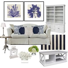 Coastal Navy by hamptons on Polyvore featuring interior, interiors, interior design, home, home decor, interior decorating, Williams-Sonoma, Diane James, Lori Shinal Interiors and living room