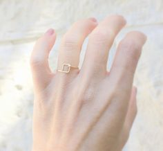 Geometric Ring ,Little Square Ring, 14k gold filled handmade wire ring , simple gold ring, feminine geometric jewelry