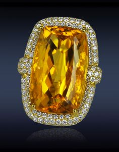 Citrine Diamond Ring with 32.47cts Citrine Center to 3.99cts Pave Set White Diamonds (208 Stones) 18k Yellow Gold