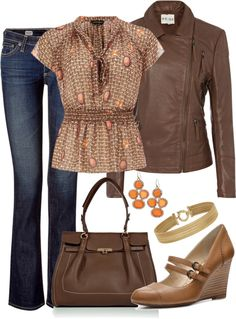 """Brown and Orange"" by averbeek on Polyvore"