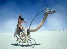 Another shot of the camel bike at Burning Man complete with canteen #bike #bicycle