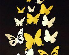 Papel 3D mariposa móvil bebé cuarto de niños por Janniecut en Etsy