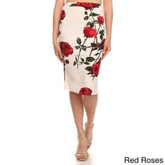 Floral-Red Rose-Pencil-Skirt-