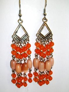 Orange Chandelier Earrings By Mwadsworth On Etsy 10 00