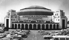 The St. Louis Arena (dubbed the Checkerdome), before a visit by presidential candidate Ronald Reagan in 1980.