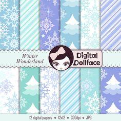 Winter Wonderland Digital Paper, Snowflake Scrapbook Background, Party