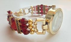 """Bracelet watch, gold, garnet red, and cranberry red, ca. 6.9"""" - 7.25"""" (17.5 - 18.5 cm), adjustable, MEDIUM by ShereesTrinketBox on Etsy"""