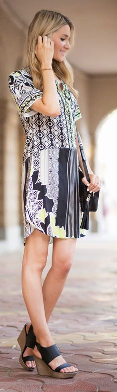 Floral Shift Dress Inspiration Outfit