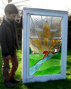 Large reclaimed Art Deco stained glass leaded window, 1930s, windmill design