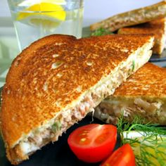 "Simple Tuna Melts | ""This is my absolute favorite way to eat tuna fish sandwiches. I do add a little light mayonnaise and garlic powder and dill weed but it's SO good. Really just the best thing on whole wheat organic bread for me and TOTAL comfort food."" http://allrecipes.com/recipe/simple-tuna-melts/Detail.aspx"