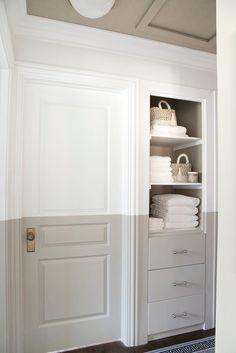 Bathroom Linen Closet Design Linen Closet Update & Tips for Choosing Paint Small Linen Closets, Bathroom Linen Closet, Laundry Closet, Linen Closet Organization, Closet Storage, Bathroom Organization, File Organization, Painted Closet, Closet Paint