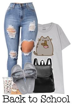 """#PVxPusheen"" by princess-alexis18 ❤ liked on Polyvore featuring Pusheen, Puma, contestentry and PVxPusheen"