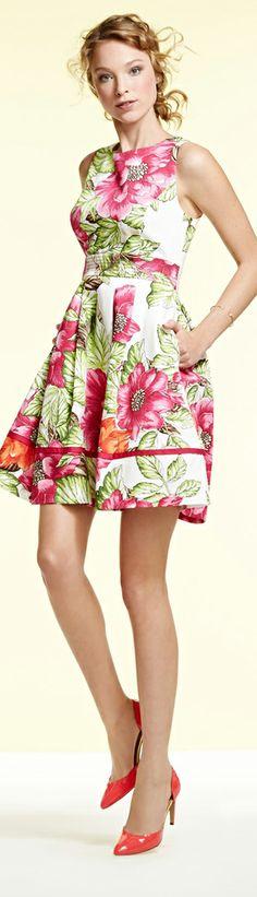 4bd1bb1ff6c Eliza J Floral Print Cotton Sateen Fit   Flare Dress