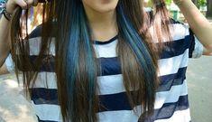 Blue streaks on brunette