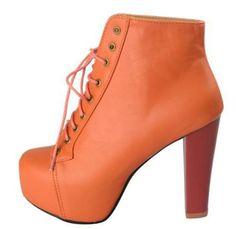 Fashion High Heels Ankle Boots Schnürstiefelette Plateaustiefelette Orange