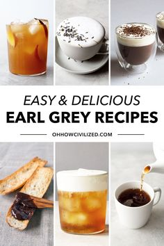 Earl Grey tea makes decadent and refreshing treats! From tea lattes to sweet treats, these easy Earl Grey recipes are perfect for all Earl Grey lovers! Hot Tea Recipes, Coffee Recipes, Drink Recipes, Yummy Recipes, English Tea Recipes, Smoothie Drinks, Smoothies, Peach Ice Tea, Tea Varieties