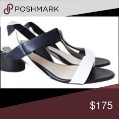 """💯Auth Dior Sandals 💞 Leather t strap sandals from Dior: navy and white leather with 2"""" block heel. Wear to insole/ sole and slight color xfer on upper but otherwise in great condition. Comes with Dior dust bag and box. Retail $610 + tax Dior Shoes Sandals"""