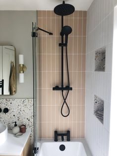 Oska Shell Matt Porcelain Tile   Mandarin Stone Mandarin Stone, Large Format Tile, Bathroom Interior Design, Small Bathroom Designs, Small Bathroom Inspiration, Terrazzo Tile, Porcelain Tile, Decoration, Green Tile Bathrooms
