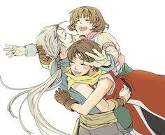 Suikoden Riou, Nanami, and Jowy. Suikoden, Samurai Warrior, Amazing Drawings, Big Hugs, Nanami, Character Design Inspiration, Video Games, Cinema, Sketches